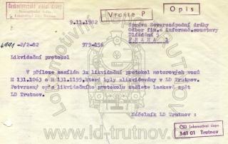 Průvodka likvidačních protokolů - M131.1063 a M131.1199