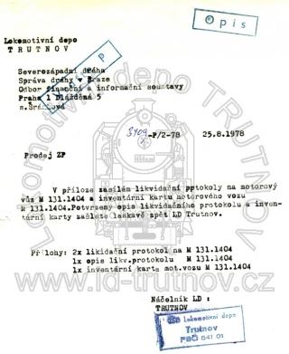 Průvodka likvidačních protokolů - M131.1404