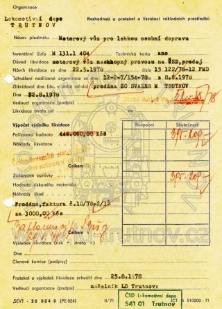 Rozhodnutí a protokol o likvidaci základních prostředků - M131.1404