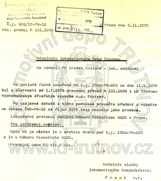 Dopis o prodeji M131.1259