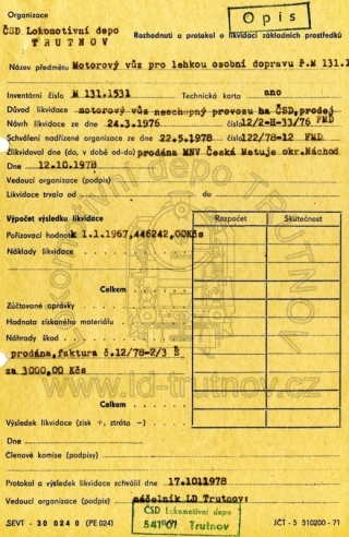 Rozhodnutí a protokol o likvidaci základních prostředků - M131.1531
