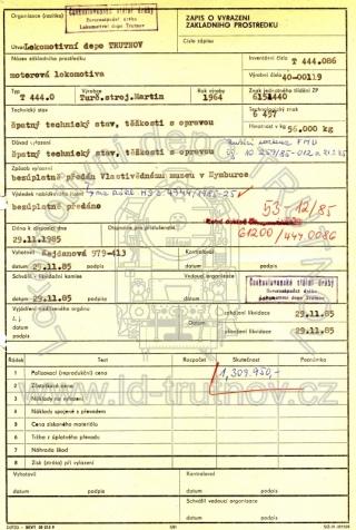 Zápis o vyřazení základního prostředku - T444.0086