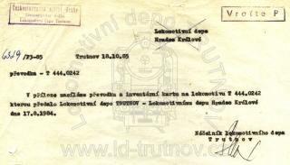 Odeslání převodek a inventární karty - T444.0242