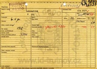 Inventární karta parní lokomotivy 434.2137
