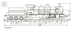 Schéma lokomotivy řady 354.8 a tendru řady 415.3