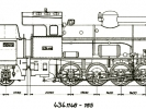 Výkres lokomotivy řady 434.1146-1165 a tendru řady 516.0